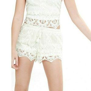 Express Ivory Crochet Shorts with Tassel NWOT sz L